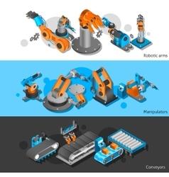Industrial robot banner set vector image vector image