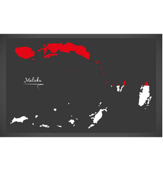 maluku indonesia map with indonesian national flag vector image vector image