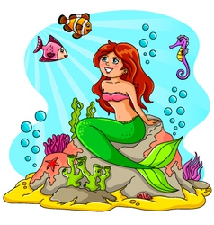 mermaid and her friends vector image