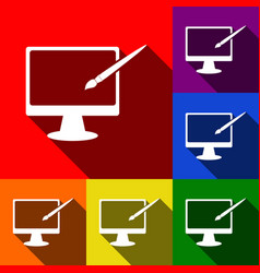 monitor with brush sign set of icons with vector image