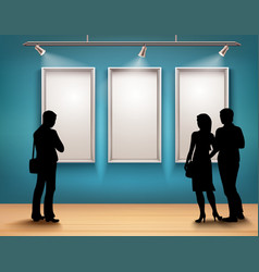 People Silhouettes In Gallery vector image
