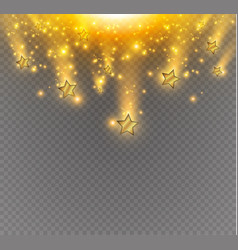 Salute of golds stars on a transparent background vector