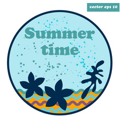 simple emblem with sea stars vector image