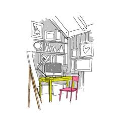 Sketch interior design comfortable workplace vector image vector image
