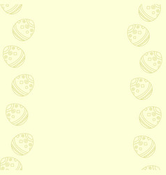 Soft pastel yellow background with easter eggs vector