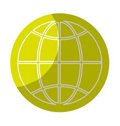Sticker global symbol to earth planet vector