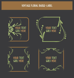 Vintage floral badge-label vector image vector image