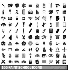 100 paint school icons set simple style vector