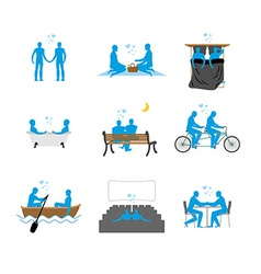 Gay set of silhouettes lgbt love blue people in vector