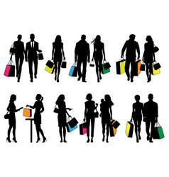 several people silhouettes in shopping center vector image
