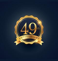 49th anniversary celebration badge label in vector