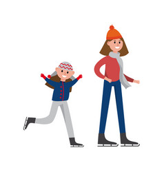 smiling mother with her daughter enjoying ice vector image
