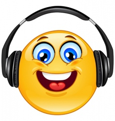 Headphones emoticon vector