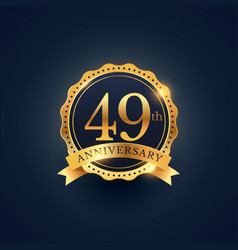 49th anniversary celebration badge label in vector