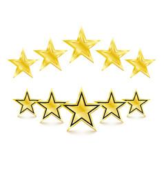 5 golden stars on white background vector