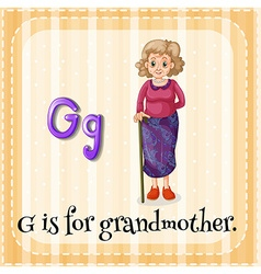 Flashcard letter g is for grandmother vector