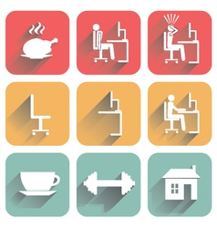 Icons of objects of daily routine and office vector