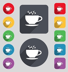 The tea and cup icon sign a set of 12 colored vector