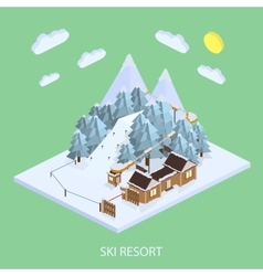 Ski Resort Mountain landscapes isometric vector image