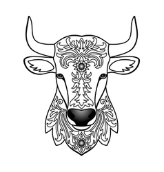 Ornamental white bull vector
