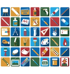 Attributes of art icons vector
