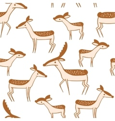 Seamless pattern with cute cartoon deer family vector