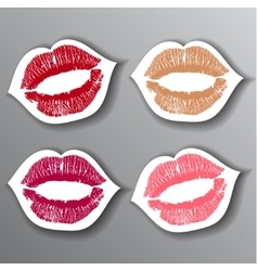 Red lips stickers set design element vector image
