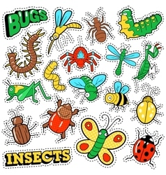 Bugs and Insects Patches Stickers Badges Set vector image vector image