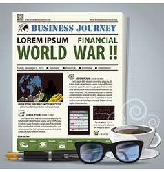 Business journey newspaper lay out with pen vector