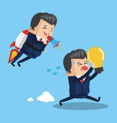 Businessman flying jetpack leading teamwork vector