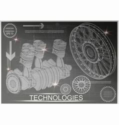 car engine and wheels vector image vector image