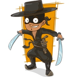 Cartoon man in black mask with swords vector
