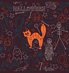 dark halloween seamless patterns endless vector image vector image