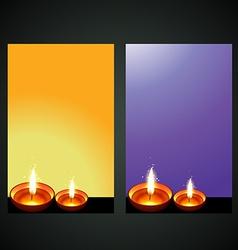Diwali diya banner vector
