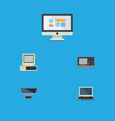 Flat icon computer set of notebook computer vector