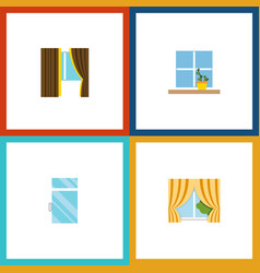 Flat icon frame set of glass flowerpot clean and vector