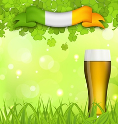 Glowing nature background with glass of beer vector image vector image