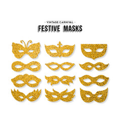 gold glitter carnival mask set for party event vector image vector image
