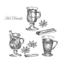 Hand drawn ink sketch of mulled wine vector