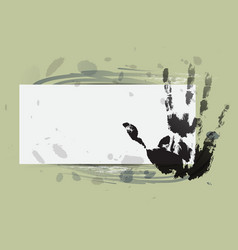 hand print with watercolor background vector image
