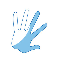 Hand showing five fingers high five sign gesture vector