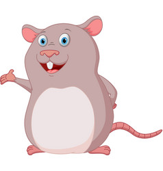 happy mouse cartoon presenting vector image vector image