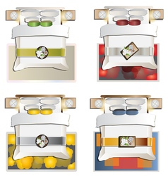 King bed top view set 4 vector