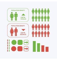 Male and Female population density design icons vector image vector image