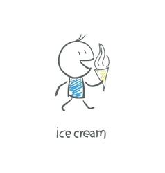 Man eating ice cream vector