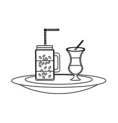 milk shake and coffee jar vector image
