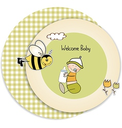 new baby announcement card with kid vector image