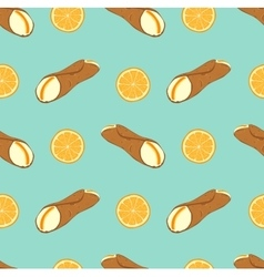 Perfect seamless pattern with sicilian cannoli vector