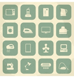 Retro home appliances icons vector