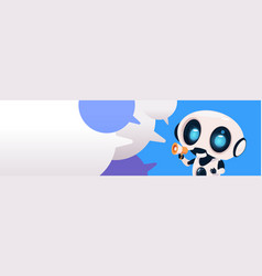 Robot chatterbot holding megaphone over chat vector